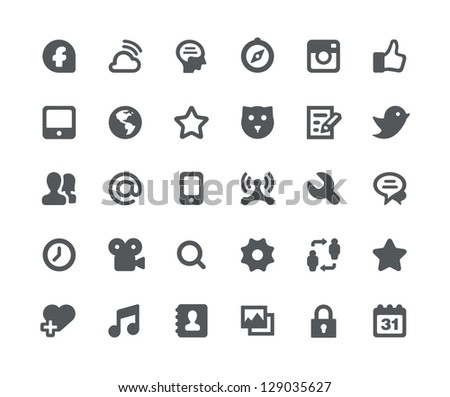 30 Social media network minimalistic and simple icons - stock vector