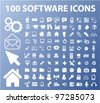 100 software & apps icons, vector - stock vector