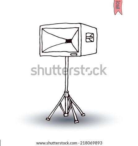 speaker, hand drawn illustration.Vector - stock vector