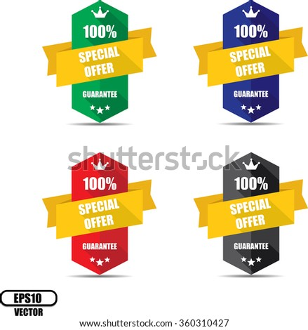 100% special offer Colorful   Label, Sticker, Tag, Sign And Icon Banner Business Concept, Design Modern With Crown. Vector illustration. - stock vector
