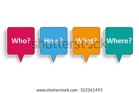 4 speech bubbles with text Who, How, What, Where. Eps 10 vector file. - stock vector