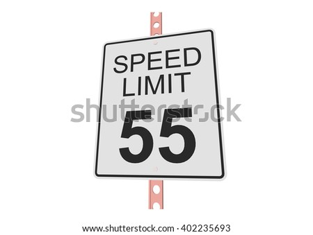 """""""Speed limit 55"""" - 3d illustration of roadsign isolated on white background - stock vector"""