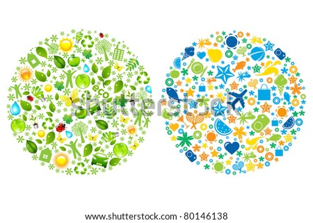 2 Sphere From Tourist And Eco Icons, Vector Illustration - stock vector