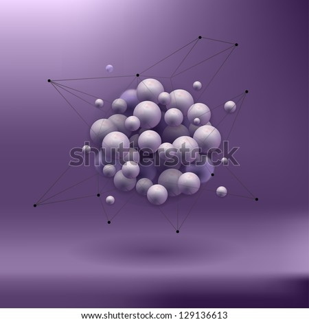 spheres abstract background . molecular structure - stock vector