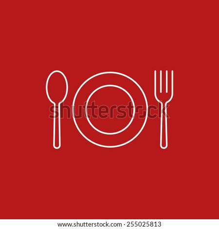 spoon fork dish icon - stock vector
