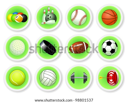 Sport balls icon set, vector illustration - stock vector