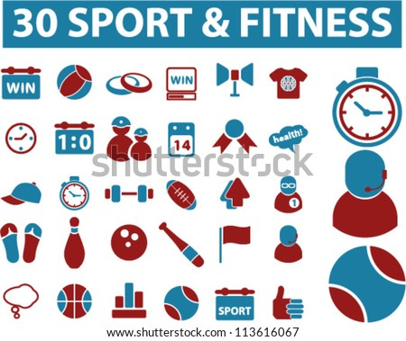 30 sport & fitness icons set, vector - stock vector