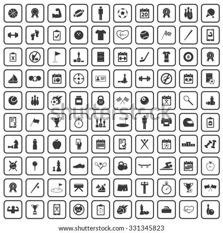 100 sport icons set, black, on white background - stock vector