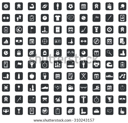 100 Sport icons set, in black squares, on white background - stock vector