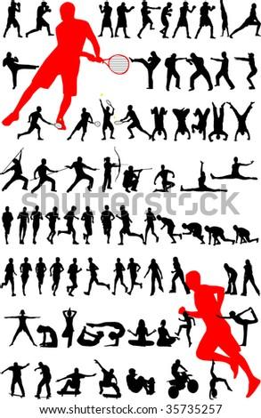 sport silhouette - vector - stock vector