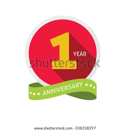 1st anniversary logo template with shadow on circle number one. 1 year icon. One year birthday party symbol. First company holiday, sticker, badge, ribbon, banner, poster, logotype, emblem, tag - stock vector