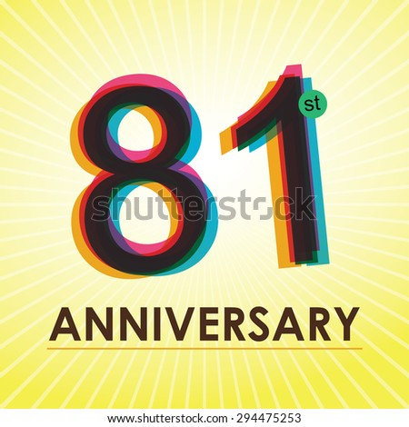 81st Anniversary poster / template design in retro style - Vector Background - stock vector