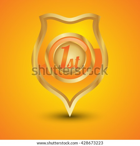 1st metal gold orange gold shield on isolated background - stock vector