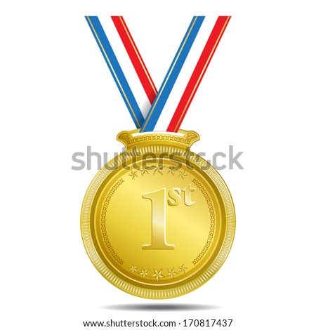 1st Position Gold Medal Vector Icon - stock vector