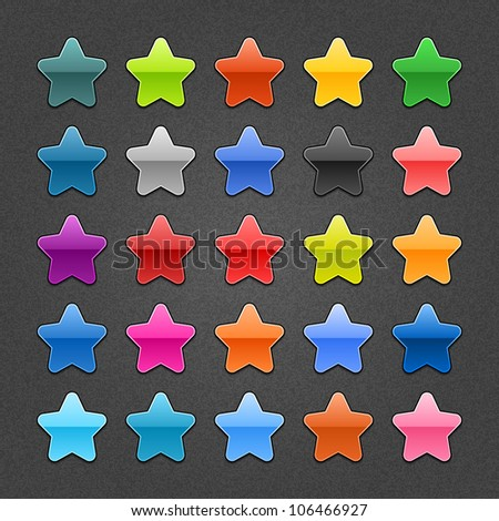 25 star sign glossy web button. Blank color rounded shape with black drop shadow on dark gray background with noise effect. This design element vector illustration saved 10 eps - stock vector