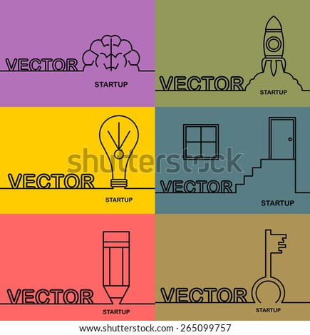 Start up icons thin line style, flat design and space for text. Flat design.Banners - stock vector
