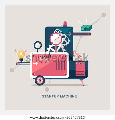 Startup machine - stock vector