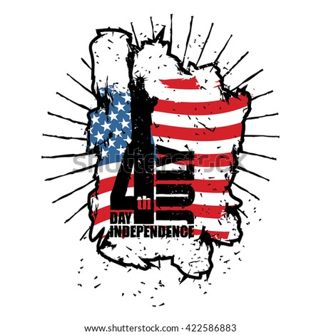 Statue of Liberty and USA flag in grunge style. Brush strokes and ink splatter. Independence Day of America. National public holiday in United States. Logo for patriotic celebration - stock vector