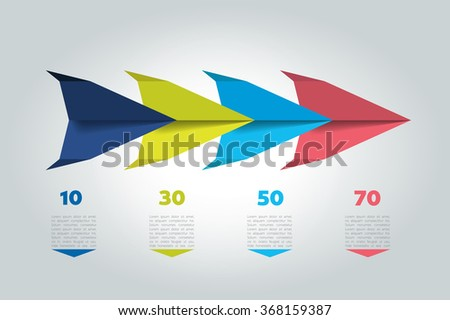 4 Steps arrow tutorial, chart, diagram. One, two, three concept. - stock vector