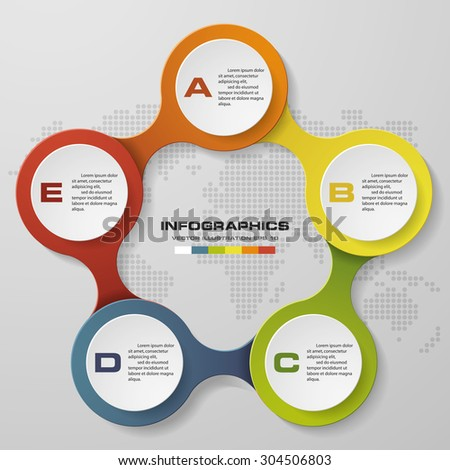 5 steps circle infographics diagram. Vector Illustration background. - stock vector