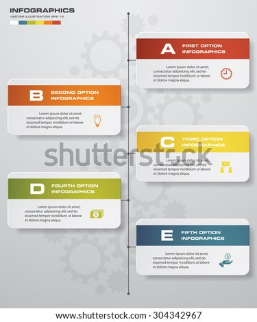 5 steps clean number banners template/graphic or website layout/timeline. Vector. - stock vector