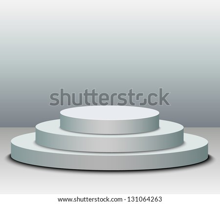 3 steps empty podium on white background. - stock vector