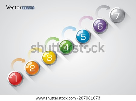 7 steps graph - stock vector