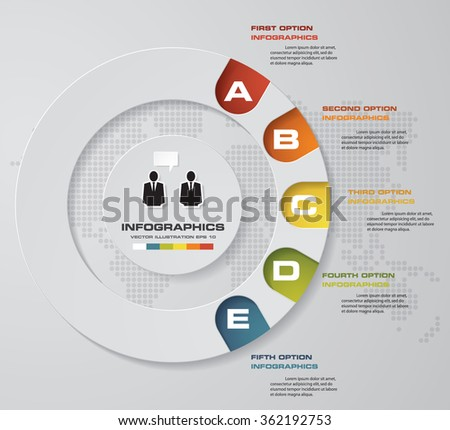 5 steps Infographics vector design template. Simple&Editable for your sample text. Business clean template. EPS 10. - stock vector