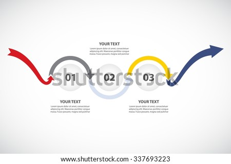3 Steps of Change / Problem Solving / Growing Timeline - vector Infographic template with original arrows - stock vector