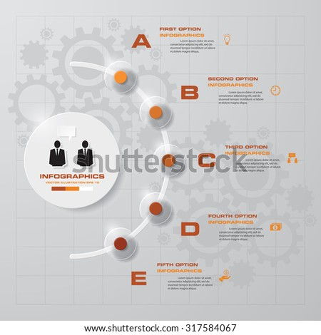 5 steps process. Simple&Editable abstract design element. Vector. - stock vector