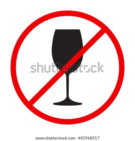 """""""Stop alcohol"""" red round sing with wine glass - stock vector"""