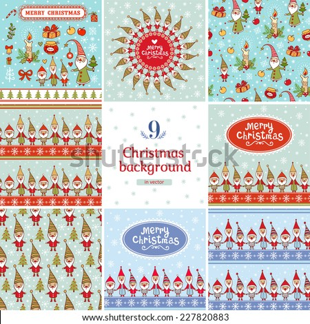 9 stylish holiday seamless patterns with cute gnomes . New year and Christmas backgrounds set in vector. - stock vector