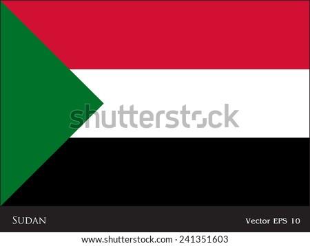 Sudan flag isolated vector - stock vector