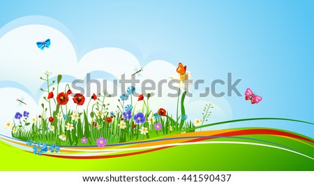 Summer background with flowers - stock vector