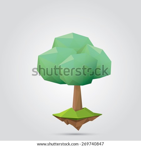 summer Conceptual polygonal geometric tree. Abstract vector Illustration, low poly style. Stylized design element. Background design for banner, poster, flyer, cover, brochure. Logo design.  - stock vector