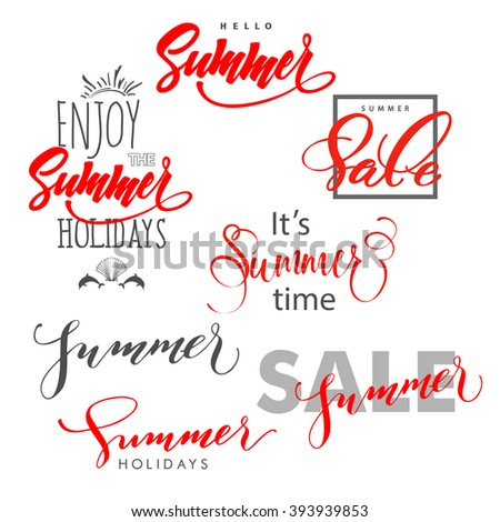 Summer.Summer design, summer sale. Enjoy the summer holidays. lettering, Hand written typography, typography design. Summer Concept. - stock vector