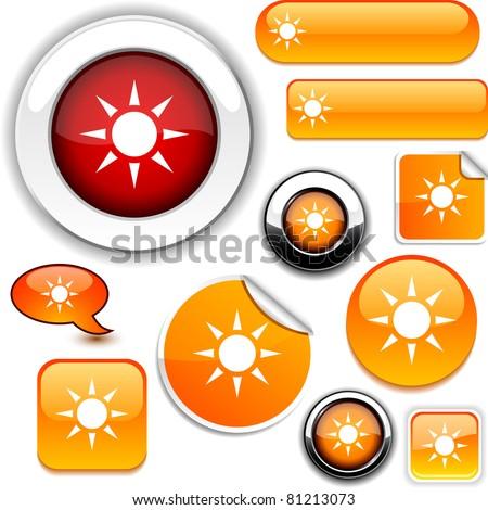 .Sun vector glossy icons. - stock vector