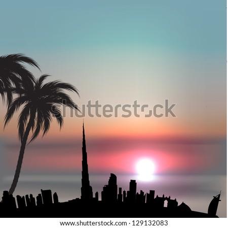 Sunset background with Dubai skyline - stock vector