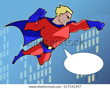 Superhero in bright costume flying in the city  - stock vector