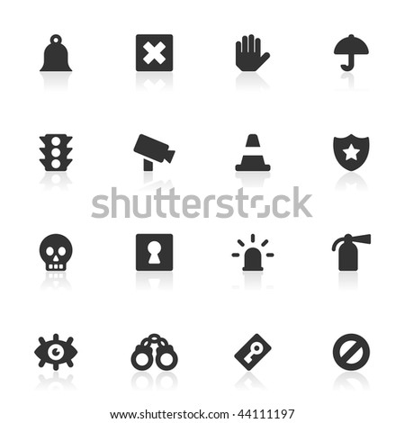 16 surveillance and security icons for your site or software. - stock vector