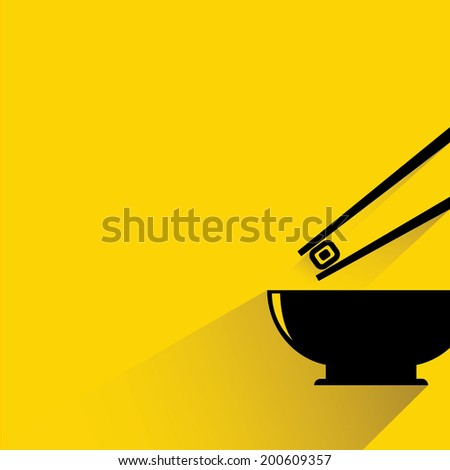 sushi and chopsticks on yellow background, flat and shadow theme - stock vector
