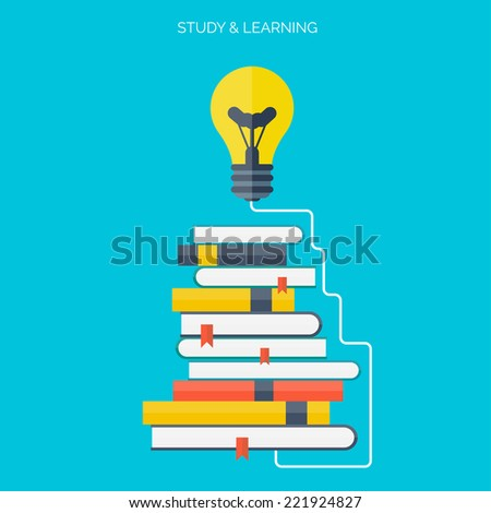 Symbo lFlat concept education background. Back to school. Distance learning. Study in university.   - stock vector