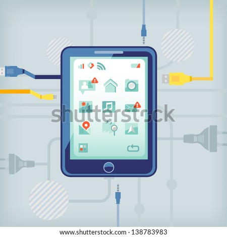 tablet computer on network background. - stock vector