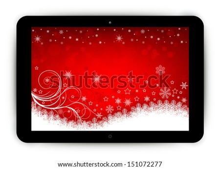 Tablet with Christmas background - stock vector