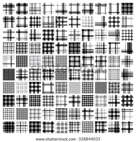 100 tartan patterns. SET. Scottish traditional fabric seamless vector. White & black background. Suitable for children, plaid, home, design, clothing, handicraft & scrap booking. - stock vector