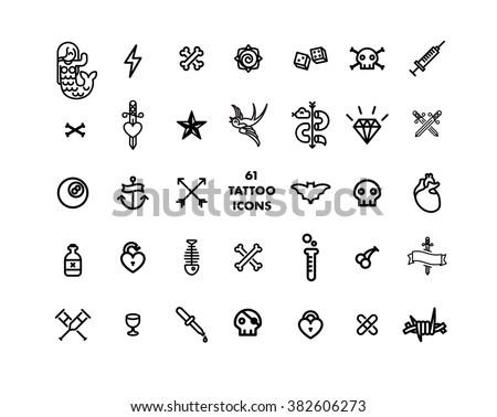 61 tattoo set minimal vector icon - stock vector