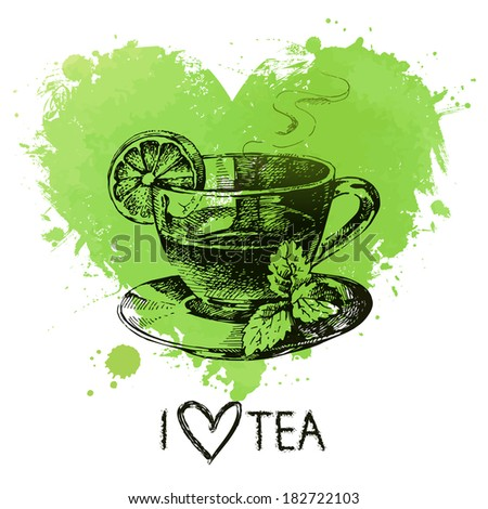 Tea background with splash watercolor heart and sketch . Hand drawn illustration. Menu design - stock vector