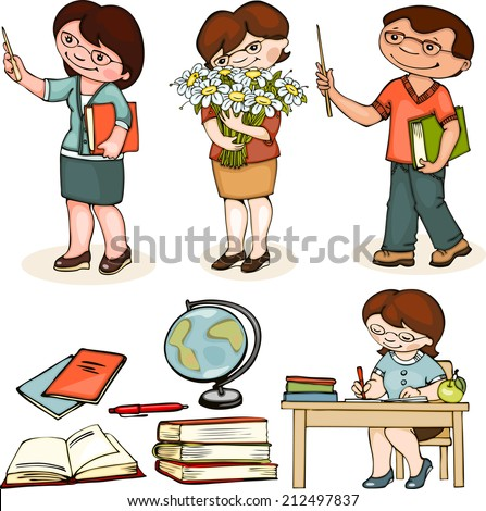 teacher school. set man and woman standing, with flowers and at the table.   - stock vector