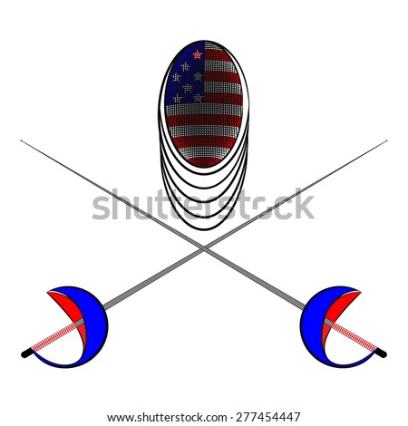 Team America. Sports fencing protective mask  with the image of a flag of America and a sword to attack. The symbol for fencing of  America. - stock vector