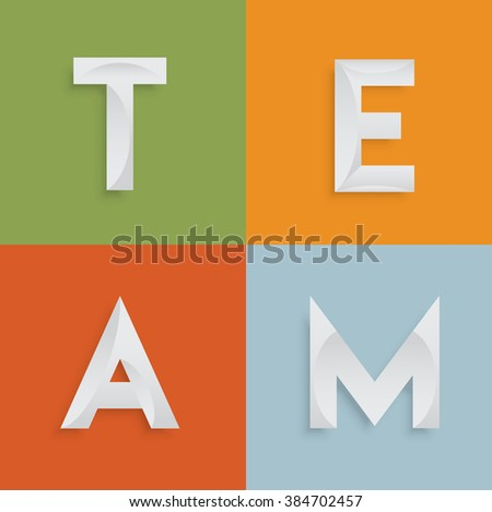 'TEAM' four-letter-word for websites, illustration, vector - stock vector